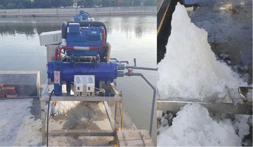 Máy làm đá lắp thử nghiệm tại cảng cá Bạch Long Vĩ. Ảnh: PP.