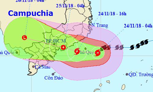Hướng đi của bão theo dự báo của Trung tâm dự báo khí tượng thủy văn trung ương sẽ đi thẳng vào TP HCM.