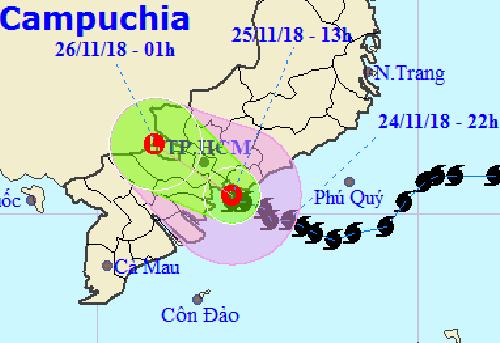 Hướng đi của áp thấp nhiệt đới suy yếu từ bão Usagi theo dự báo của Trung tâm khí tượng thủy văn Trung ương.