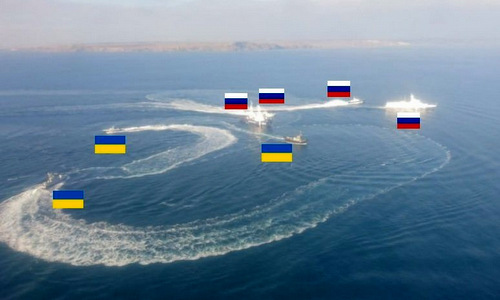 Tàu tuần tra Nga và chiến hạm Ukraine cơ động trên eo biển Kerch sáng 25/11. Ảnh: Twitter.