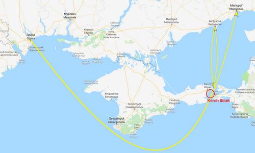 Hành trình của hai nhóm tàu Ukraine từ Odessa và Berdyansk. Đồ họa: Drive.
