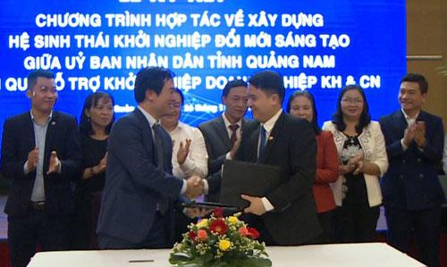 UBND tỉnh Quảng Nam và Quỹ Hỗ trợ khởi nghiệp doanh nghiệp khoa học công nghệ ký hợp tác.