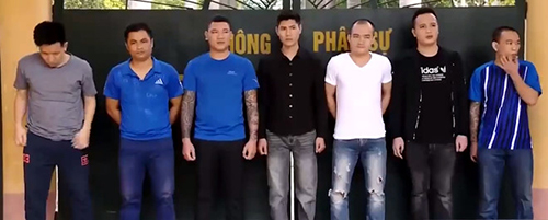 7 nghi can đang bị tạm giam tại Công an tỉnh Thanh Hoá. Ảnh: C.A.