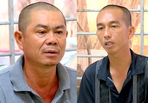 Hiền (trái) và Phong tại cơ quan công an. Ảnh: Quang Bình.