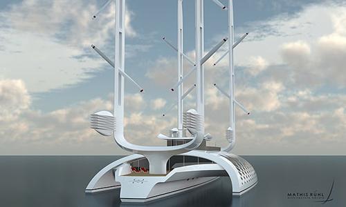 Các turbine gió trên hai cột buồm cung cấp năng lượng cho con tàu. Ảnh: Mathis Ruhl.