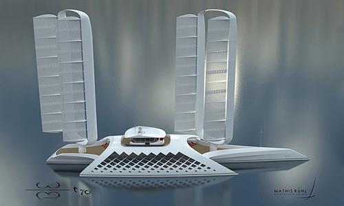 Hình ảnh concept siêu du thuyền Wind Motion. Ảnh: Mathis Ruhl.
