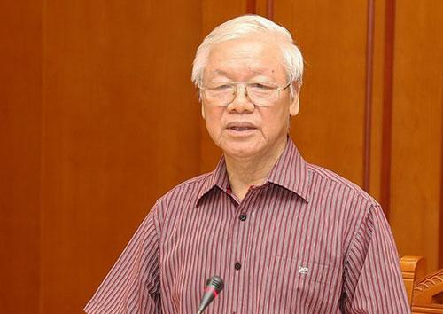 Tổng bí thư, Chủ tịch nước Nguyễn Phú Trọng phát biểu tại phiên họp của Tiểu ban Văn kiện chiều 5/12. Ảnh: TTX