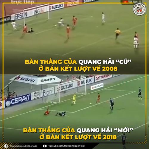 Trước đó Quang Hải Ver 2 đã tái hiện lại bàn thắng 10 năm trước.