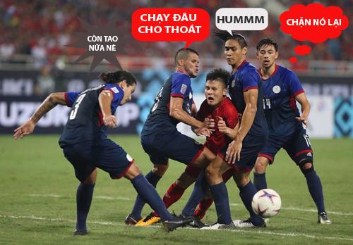... Quang Hải trở thành đối tượng được các cầu thủ Philippines chăm sóc đặc biệt.