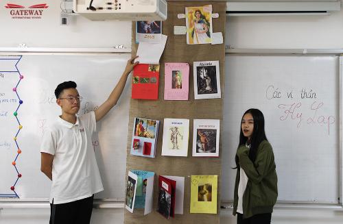 Học sinh trường Gateway tự tin thuyết trình về dự án Thần thoại Hy Lạp. 12 vị thần với rất nhiều những thông tin khó nhớ đã được các GISers thể hiện dưới hình thức sáng tạo như tranh ảnh, vẽ. Với dự án này, các em đóng vai trò chủ đạo trong việc tìm kiếm thông tin, xử lý và thể hiện chúng dưới nhiều hình thức khác nhau. Thông qua đó, có thể ghi nhớ kiến thức, vừa phát huy cá tính sáng tạo của mình.