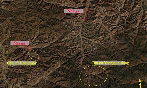 Vị trí căn cứ Yeongjeo-dong và Hoejung-ri. Ảnh: CNN.