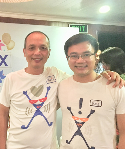 Mentor Lê Hoàng Việt và nhà sáng lập Đại học trực tuyến FUNiX Nguyễn Thành Nam tại một hoạt động của FUNiX.