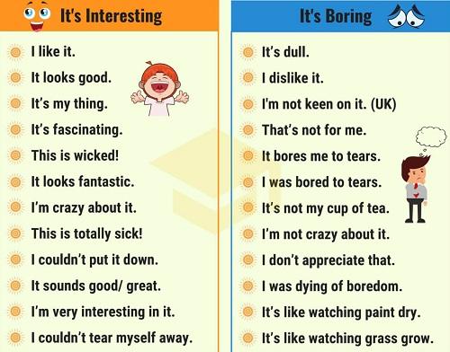 Những cách nói thay thế Its interesting và Its boring