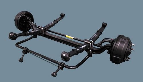 Hệ thống treo sử dụng lá nhíp.