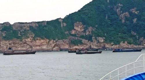 Bảy tàu hàng Trung Quốc đang bị tạm giữ để điều tra. Ảnh: Lam Giang
