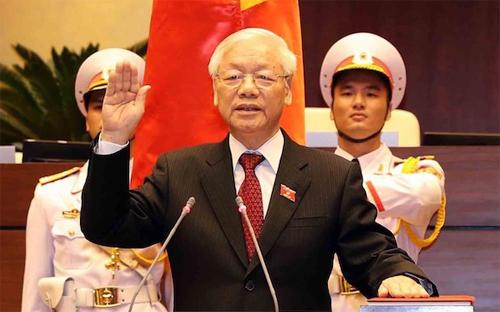 Chủ tịch nước Nguyễn Phú Trọng tuyên thệ trước Quốc hội. Ảnh: TTXVN.