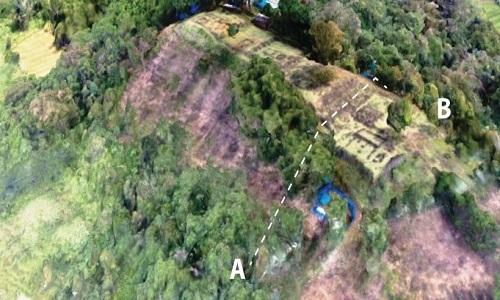 Dấu vết công trình được cho làkim tự tháp khổng lồ ở West Java. Ảnh: Science Alert.