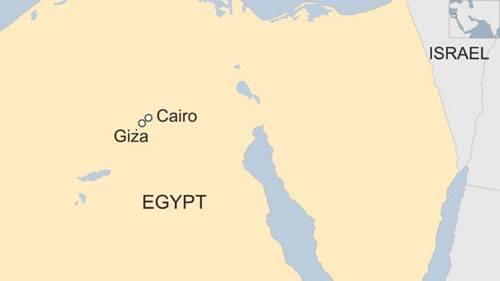 Vị trí của đại kim tự tháp Giza. Đồ họa: BBC.