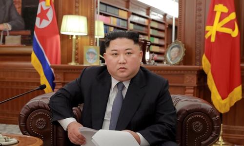 Kim Jong-un trong bài phát biểu năm mới ngày 1/1. Ảnh: KCNA.