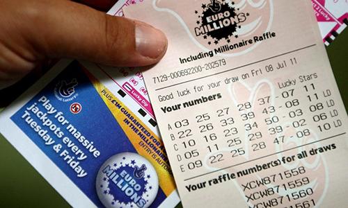 Một tấm vé xổ số EuroMillions. Ảnh: PA