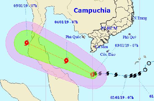 Hướng đi dự báo của bão Pabuk. Ảnh:Trung tâm dự báo khí tượng thủy văn Trung ương.