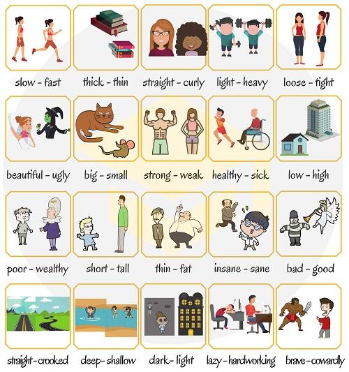 Những cặp tính từ trái nghĩa trong tiếng Anh