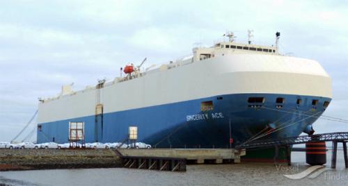 Tàu hàng Sincerity Ace được sản xuất năm 2009 với sức chứa 6.400 chiếc xe. Ảnh: American Shipper.