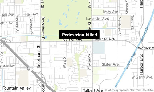 Địa điểm xảy ra vụ tai nạn khiến một phụ nữ Mỹ gốc Việt thiệt mạng ở quận Cam, bang California. Ảnh: LAT.
