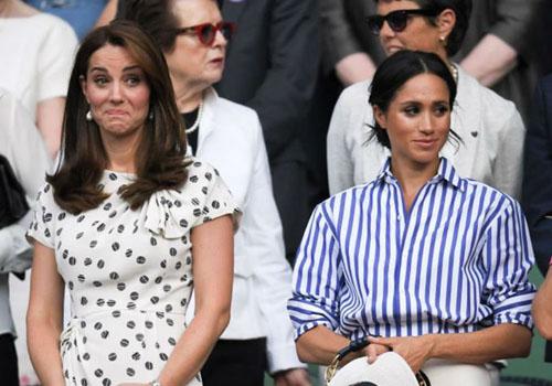 Công nương Kate Middleton (trái) và Công nương Meghan Markle. Ảnh: Mirror.