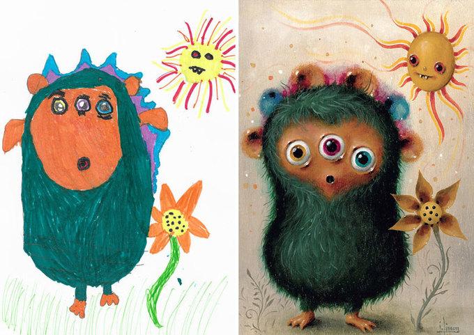 Hơn 100 họa sĩ 'nâng cấp' tranh vẽ nguệch ngoạc của trẻ