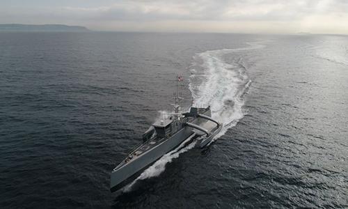 Tàu không người lái Sea Hunter được thử nghiệm trên biển. Ảnh: US Navy.
