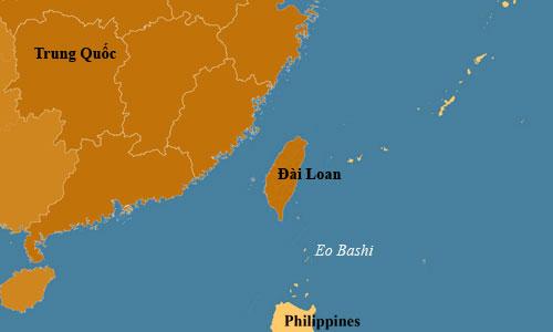 Eo biển Bashi nằm giữa đảo Đài Loan và Philippines. Ảnh: CGTN.