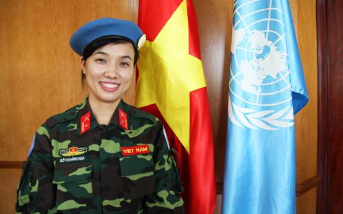 Thiếu tá Đỗ Thị Hằng Nga là sĩ quan nữ đầu tiên của Việt Nam tham gia gìn giữ hoà bình Liên Hợp Quốc. Ảnh: Linh Trương