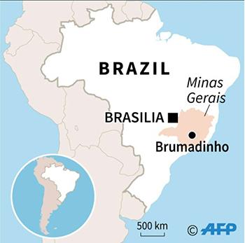 Đập vỡ gần thị trấn Brumadinho. Đồ họa: AFP.