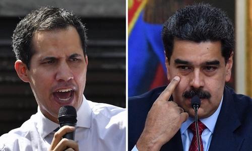 Tổng thống Maduro (phải) và thủ lĩnh đối lập Juan Guaido. Ảnh: AFP.