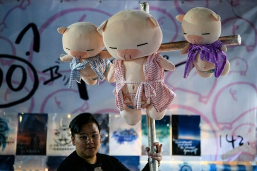 Thú bông hình con lợn bày bán ở Hong Kong trước Tết nguyên đán. Ảnh: AFP.