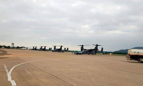 Trực thăng CV-22 của Mỹ dừng tại Đà Nẵng hôm 5/2 để tiếp liệu trước khi sang Thái Lan tham gia diễn tập. Ảnh: Twitter.