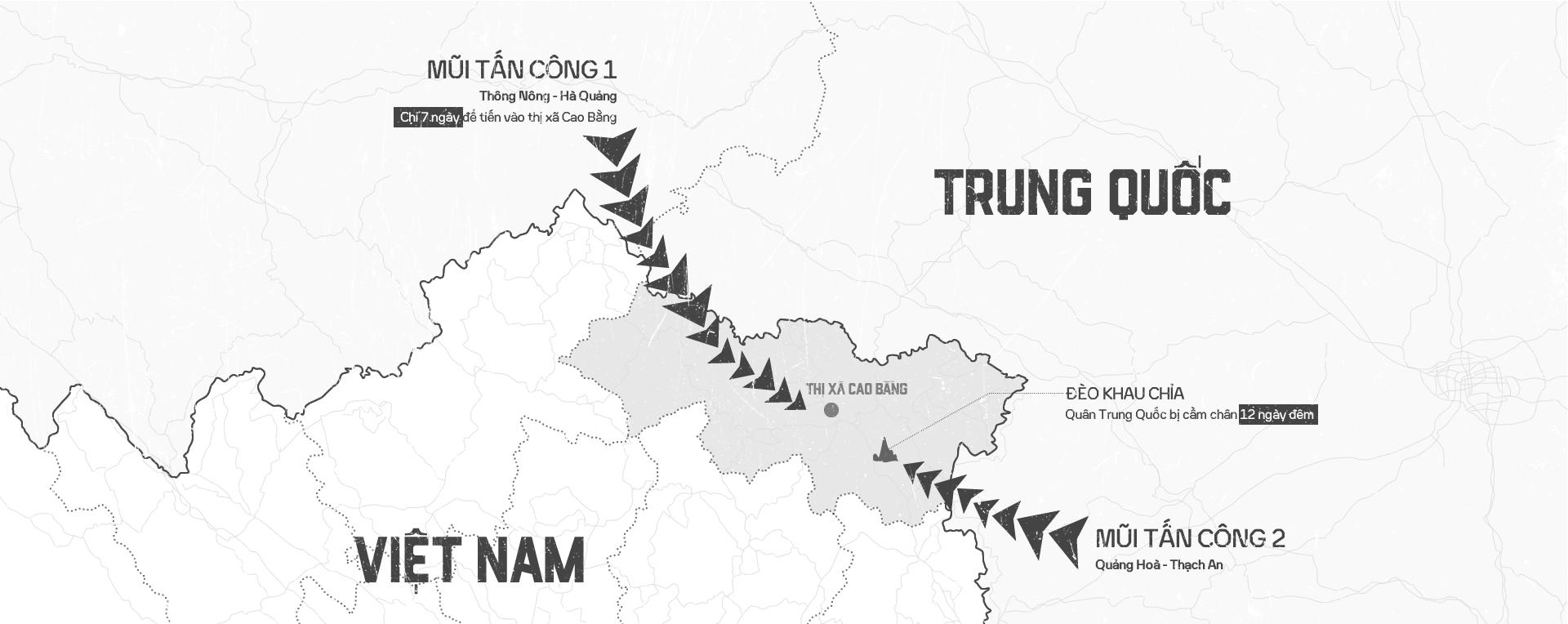 Sơ đồ 2 mũi tấn công của Trung Quốc vào Cao Bằng, bị chặn lại ở đèo Khau Chỉa.