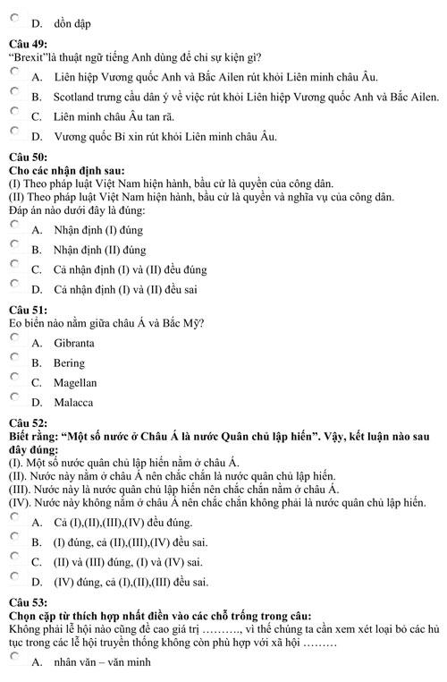 Bài kiểm tra năng lực minh họa của Đại học Luật TP HCM - page 2