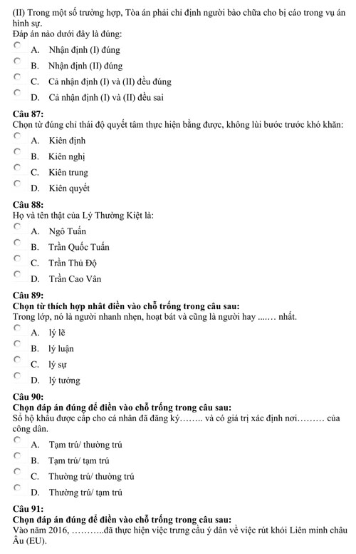 Bài kiểm tra năng lực minh họa của Đại học Luật TP HCM - page 2 - 8