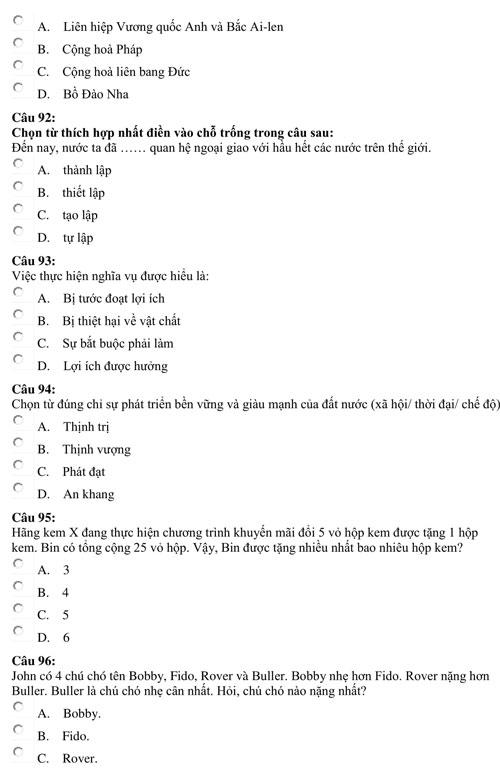 Bài kiểm tra năng lực minh họa của Đại học Luật TP HCM - page 2 - 9