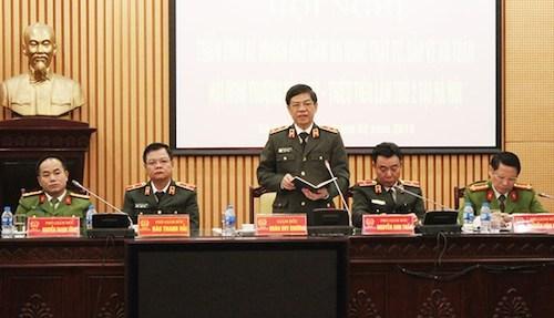 Trung tướng Đoàn Duy Khương, giám đốc Công an TP Hà Nội phát biểu trong Hội nghị. Ảnh: ANTĐ