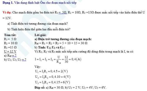 Bí quyết đạt điểm cao các dạng bài tập vận dụng định luật Ôm trong Vật lí 9 (xin edit) - 1