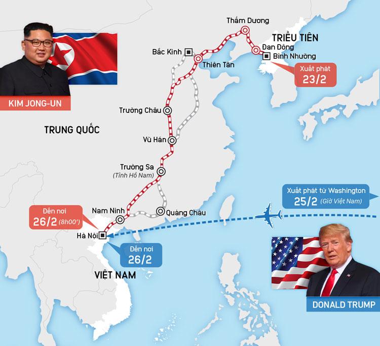 Hành trình tới Hà Nội của Chủ tịch Kim Jong-un và Tổng thống Donald Trump. Bấm vào đây để xem chi tiết.
