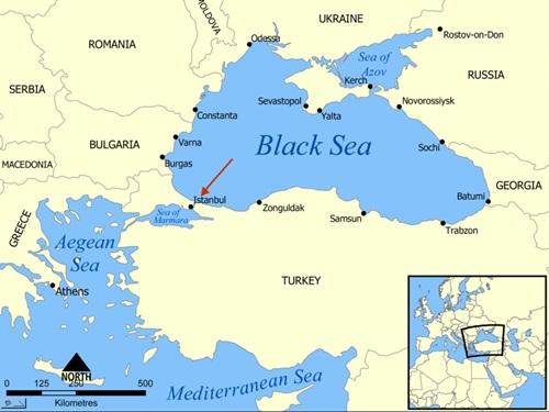 Eo biển Bosphorus nối biển Marmara với Biển Đen, chia cắt phần thuộc châu Âu với phần thuộc châu Á của Thổ Nhĩ Kỳ. Đồ họa: Yalta Map