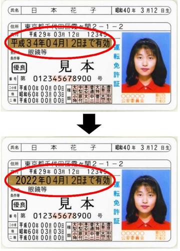 Nhật Bản sắp dùng lịch phươngTây thay cho lịch Nhật Bản để ghi ngày hết hạn bằng lái. Ảnh: NPA