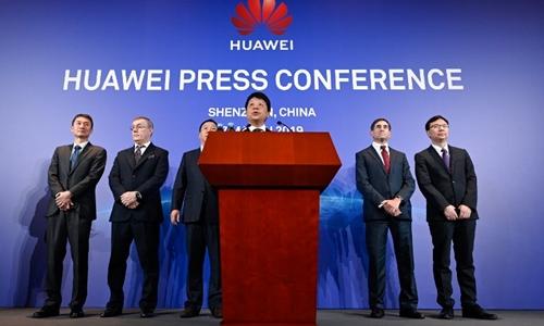 Huawei họp báo tại Thâm Quyến ngày 7/3. Ảnh: AFP.