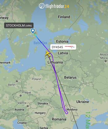 Hành trình chuyến bay DY4545 của hãng Norwegian Air Shuttle hôm nay. Ảnh: Flightradar24.