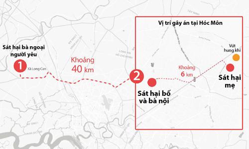 Nam di chuyển hơn 40 km để sát hại 4 người. Ảnh: Lê Huyền.