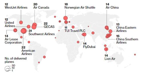 Số máy bay Boeing 737 MAXcủa các hãng hàng không trên toàn cầu. Đồ hoạ:Boeing.